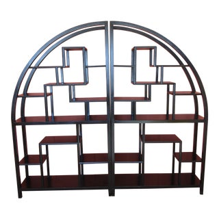 Black Wood Arched Etargeres Shelves - a Pair