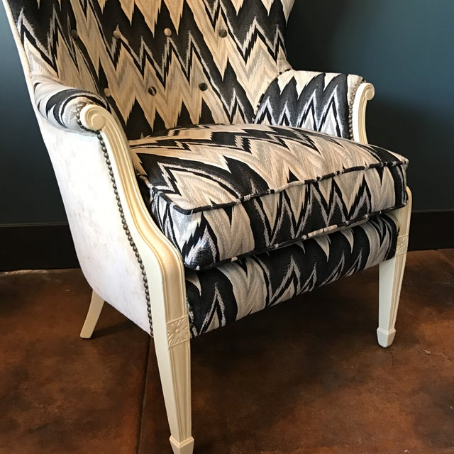 Custom Brass Tacked Wingback Chair - Image 4 of 9