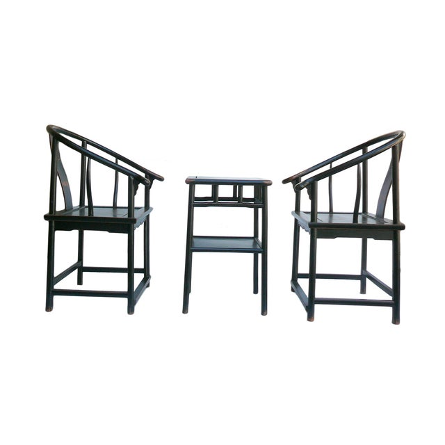 Chinese Black Lacquer Elm Armchairs & Side Table - Image 3 of 6