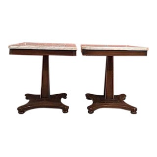 Fine Arts Furniture Marble Top Side Tables - A Pair