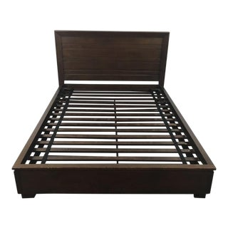 Crate & Barrel Carved Wood Queen-Size Bed Frame
