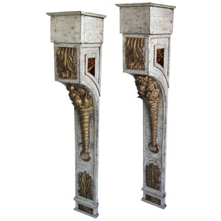 A Tall Pair of French Napoleon III Ivory Painted & Parcel-Gilt Wall Brackets