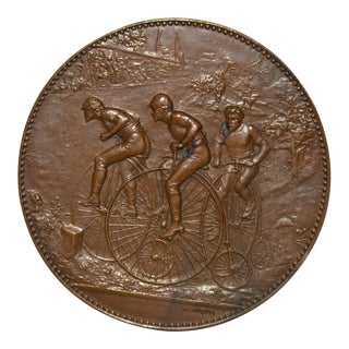 Veloce Club De Tours Rare Bronze Medallion by H. Dubois c.1891