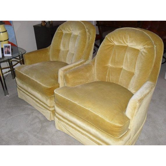 Hollywood Regency Gold Velvet Arm Chairs - Pair - Image 5 of 6