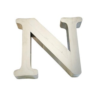 "1970s Stainless Steel Marquee Letter ""N"""