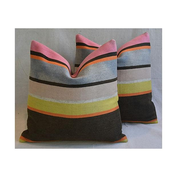 Custom Tailored Anatolian Turkish Kilim Wool Feather/Down Pillows - A Pair - Image 3 of 11