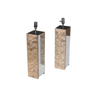 Modern Chrome & Stone Lamps - A Pair