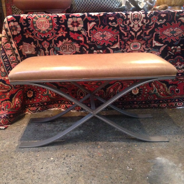 Clyde Leather X-Based Bench - Image 2 of 4