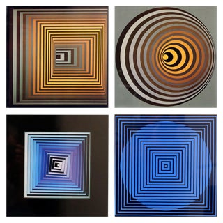 "Set of Four Framed Original Victor Vasarely ""Vonal"" First Edition Op Art Prints"