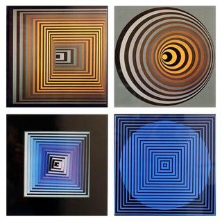 "Set of Four Framed Original Victor Vasarely ""Vonal"" First Edition Op Art Prints"