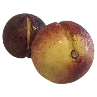 Italian Hand Carved Marble Plums - A Pair