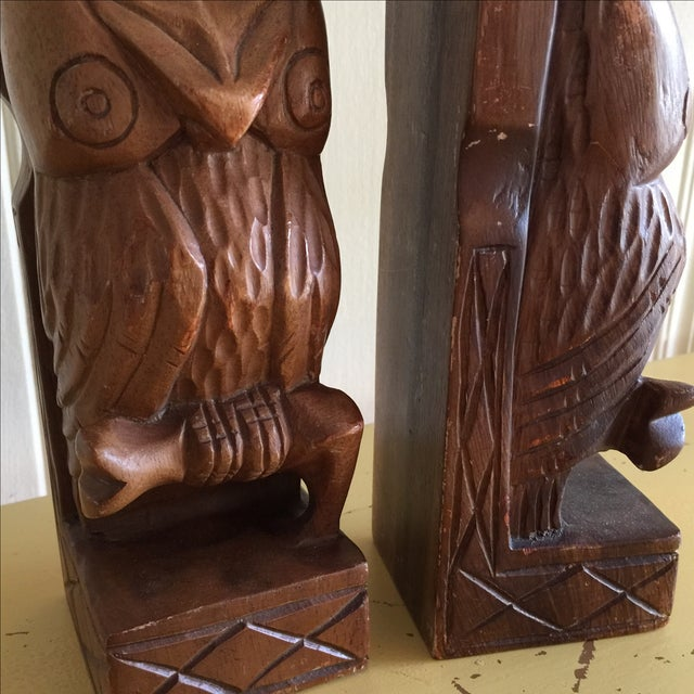 Vintage Rustic Carved Owl Bookends - A Pair - Image 8 of 10