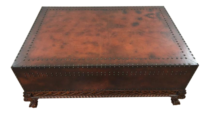 Polo Ralph Lauren Classic Leather And Wood Coffee Table