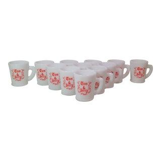 Mid-Century Tom & Jerry Milk Glass Mugs - Set of 12