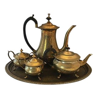 Engraved Brass Tea Service - 5 Pieces