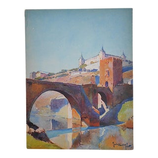 Vintage Lithograph Spanish View, Toledo