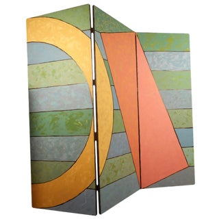 Mid-Century Painted Room Divider 3 Panel Screen