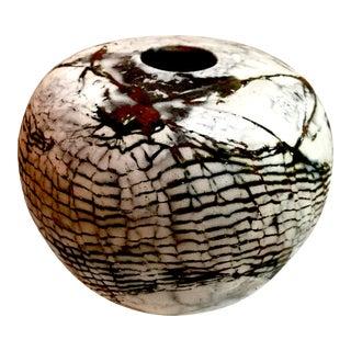 Naked Raku Kohiki Style Matte Crackle Glaze Studio Pottery Vase Signed