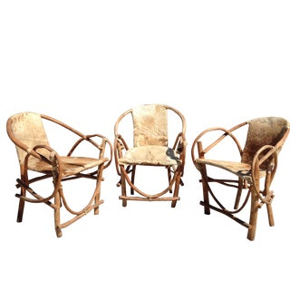 Rustic Hide Chairs - Set of 3