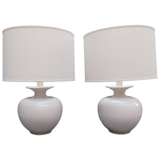 Vintage White Ginger Jar Lamps - A Pair