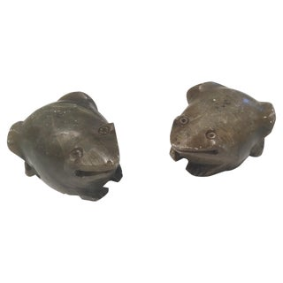 Vintage Decorative Stone Frogs - A Pair