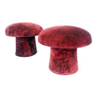 Vintage Maroon Mushroom Shag Carpet Stools - a Pair