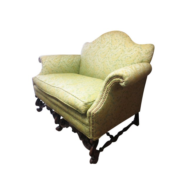 Lime Green Loveseat on Carved Stretchers - Image 2 of 10