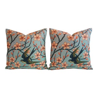Magnolia Blossoms/Swallow Down & Feather Pillows - a Pair