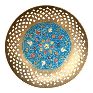 Pierced Blue Enameled Brass Dish