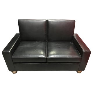 Black Leather Gold Legged Love Seat