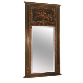 French Black & Bronze Trumeau Mirror