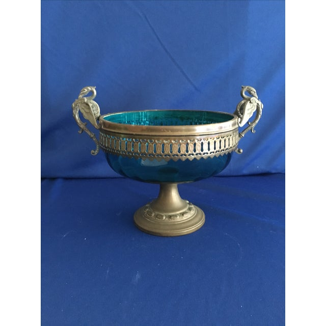 Blue Glass Compote with Dragon Handles - Image 10 of 10
