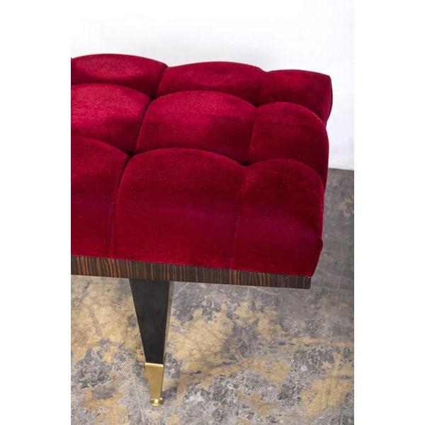 Vin de Lie Velvet Ebonized Bench - Image 4 of 4