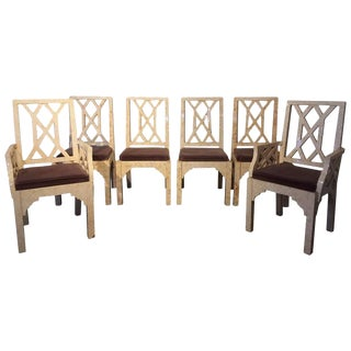 Set of Six Tessellated Chippendale Style Bone Dining Chairs by Enrique Garcel
