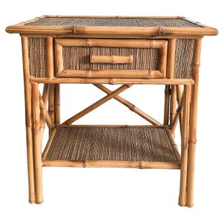 Vintage Natural Bamboo & Grasscloth Accent Table