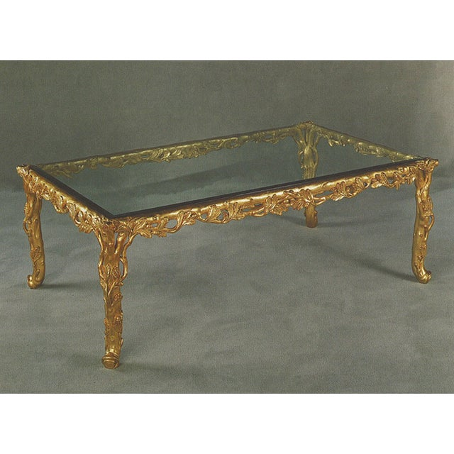 Image of Italian Hand Carved Wood Gold Leaf Coffee Table