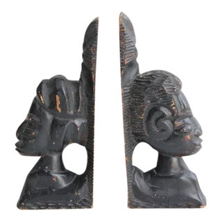 Antique Hand Carved Wooden Bookends