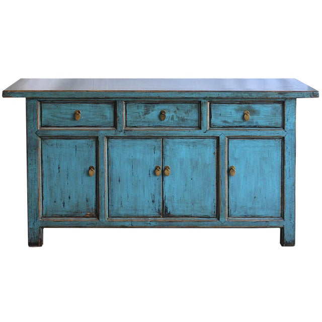 Blue Reclaimed Elm Wood Sideboard - Image 1 of 8