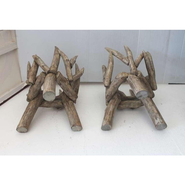 Pair of Painted Wood and Twig Planters - Image 4 of 5