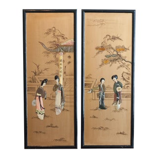 Gold Laquer Asian Shell Inlaid Panels - A Pair