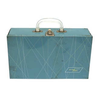 Vintage Blue Metal & Lucite Box