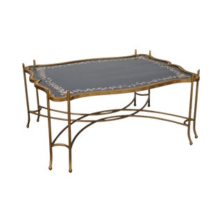 Hand Painted Gilt Metal Stretcher Based Coffee Table
