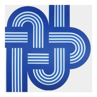 Vintage 1970s Blue Weave Supergraphic Canvas Art