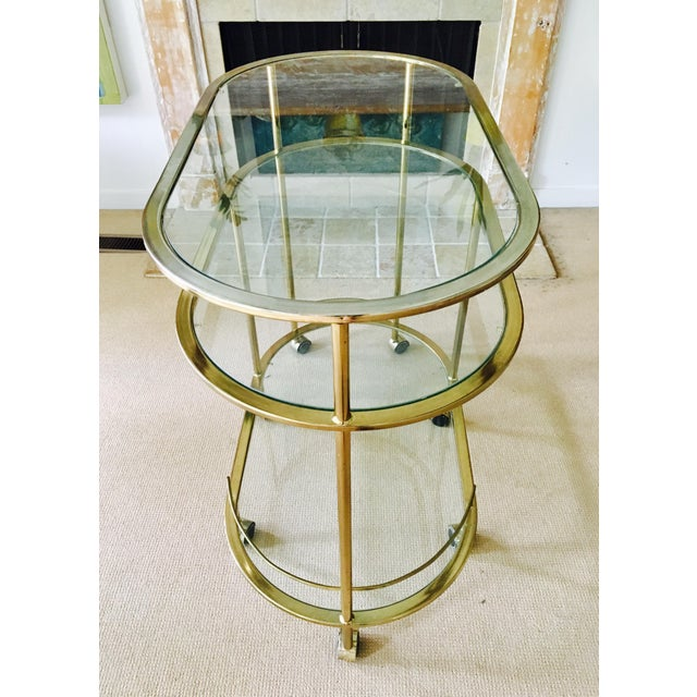 Vintage Triple Tiered Brass Swivel Bar Cart - Image 11 of 11