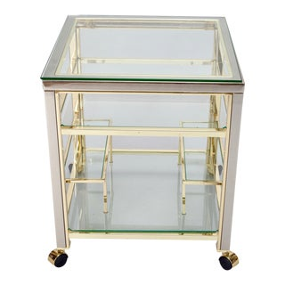 Mid Century Brass and Glass Trolley Table