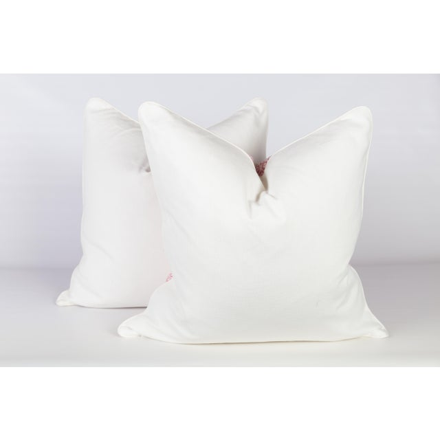 Custom Pink & Ivory Linen Ogee Pillows - A Pair - Image 4 of 5