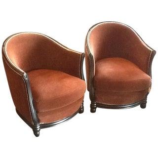 Rustic Brown Velvet Barrel Chairs