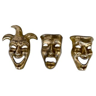 Comedy, Tradjedy and Jester Brass Masks