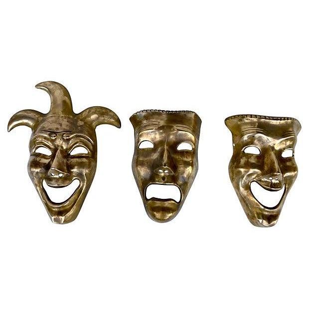 Image of Comedy, Tradjedy and Jester Brass Masks