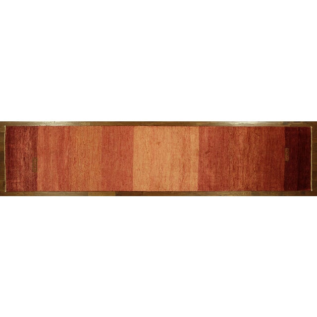 "Orange Striped Gabbeh Runner Rug - 2'10"" x 13'9"" - Image 2 of 10"
